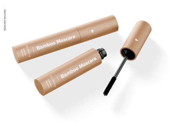 Bamboe mascara mockup, bovenaanzicht