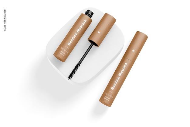 Bamboe mascara mockup, op het oppervlak