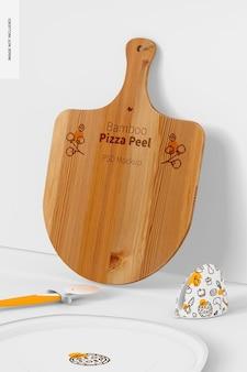 Bamboe pizza peel mockup, leunend