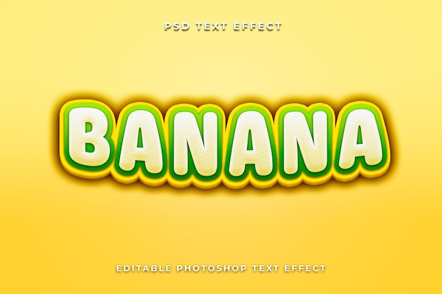 Banaan teksteffectsjabloon met gele kleur
