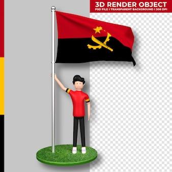Bandera de angola con personaje de dibujos animados de gente linda. representación 3d.