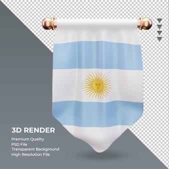 Bandera de argentina banderín 3d renderizado vista frontal