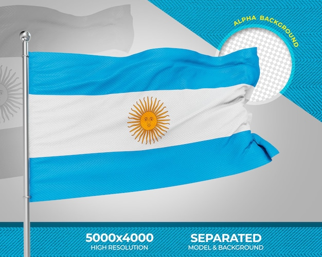 Bandera de argentina con textura 3d realista para composición