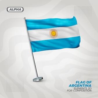 Bandera de argentina con textura 3d realista
