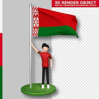 Bandera de bielorrusia con personaje de dibujos animados de gente linda. día de la independencia. representación 3d.