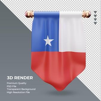 Bandera de chile banderín 3d renderizado vista frontal