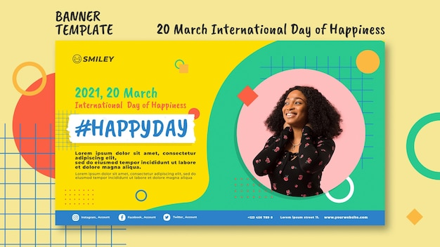 Bandera del día internacional de la felicidad
