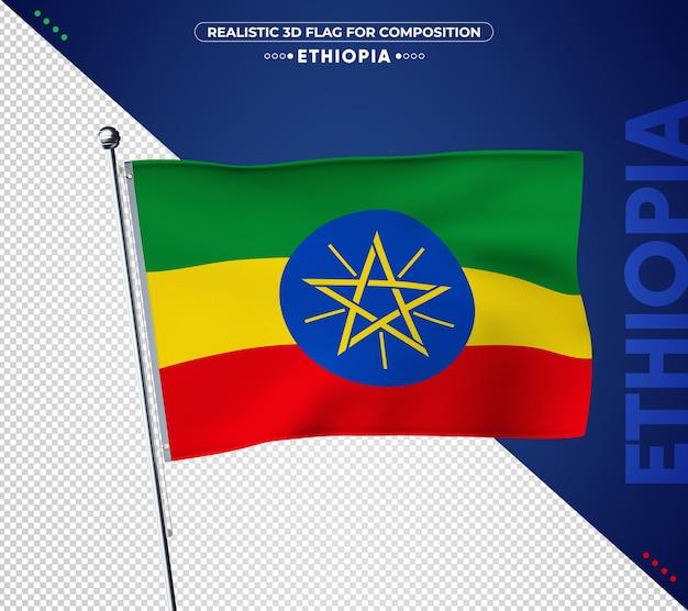 Bandera de etiopía con textura realista