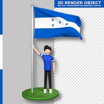 Bandera de honduras con personaje de dibujos animados de gente linda. representación 3d.