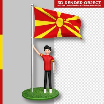 Bandera de macedonia del norte con personaje de dibujos animados de gente linda. día de la independencia. representación 3d.