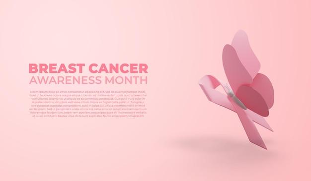 Bandera del mes de concientización sobre el cáncer de mama con cinta y mariposa