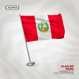 Bandera de perú realista con textura 3d