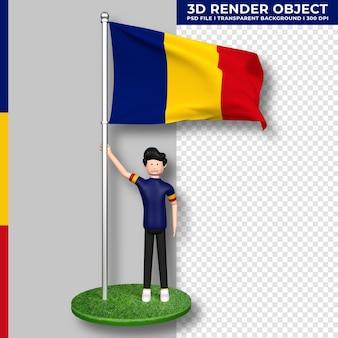 Bandera de rumania con personaje de dibujos animados de gente linda. representación 3d.