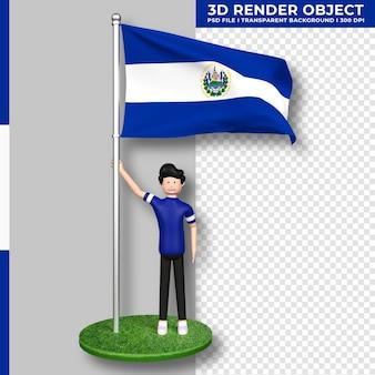 Bandera de el salvador con personaje de dibujos animados de gente linda. día de la independencia. representación 3d.