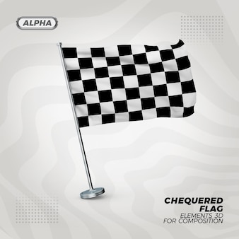 Bandera con textura 3d realista a cuadros de carrera