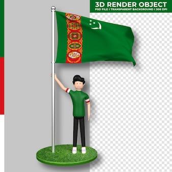 Bandera de turkmenistán con personaje de dibujos animados de gente linda. representación 3d.