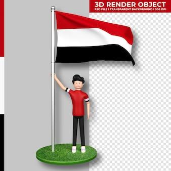 Bandera de yemen con personaje de dibujos animados de gente linda. representación 3d.