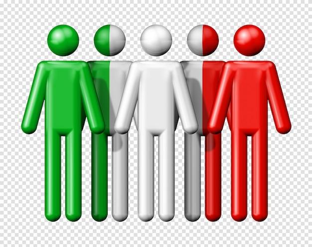 Bandiera dell'italia sulla figura stilizzata