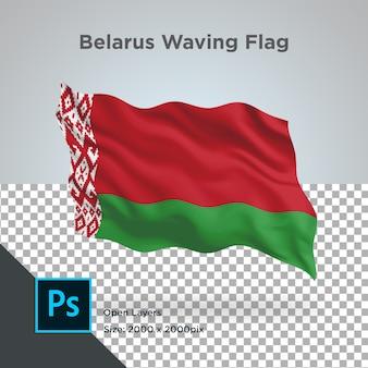 Bandiera della bielorussia onda in mockup trasparente