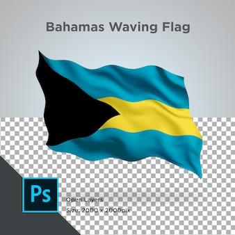 Bandiera delle bahamas onda in mockup trasparente