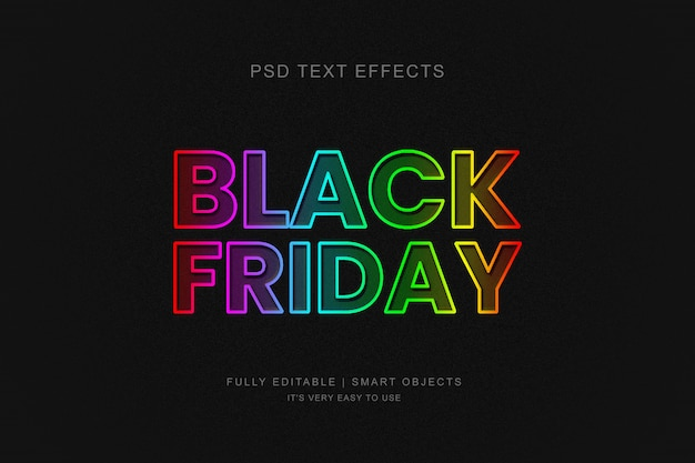 Bandiera nera del venerdì e effetto testo neon al photoshop