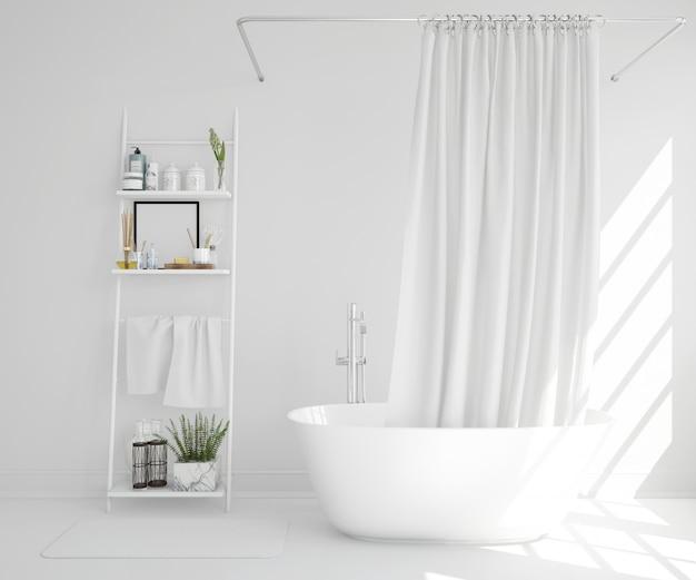 Bañera blanca con cortina y estante