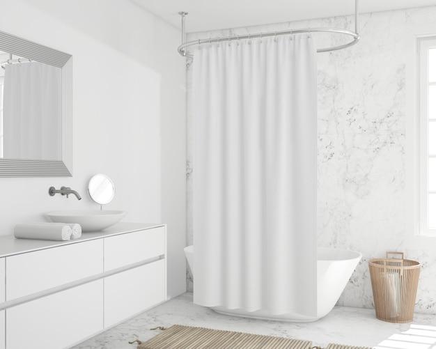 Bañera con cortina y armario