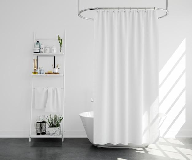 Bañera con cortina y estante