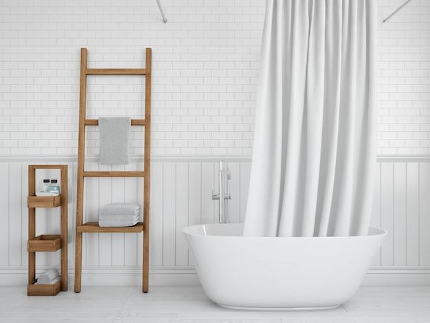 Bañera con cortina y estantes