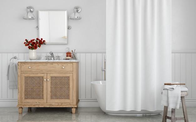Bañera con cortina y lavabo en armario