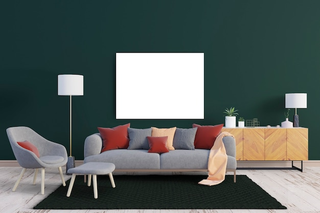 Bank en decoratieve planken met canvas frame mockup