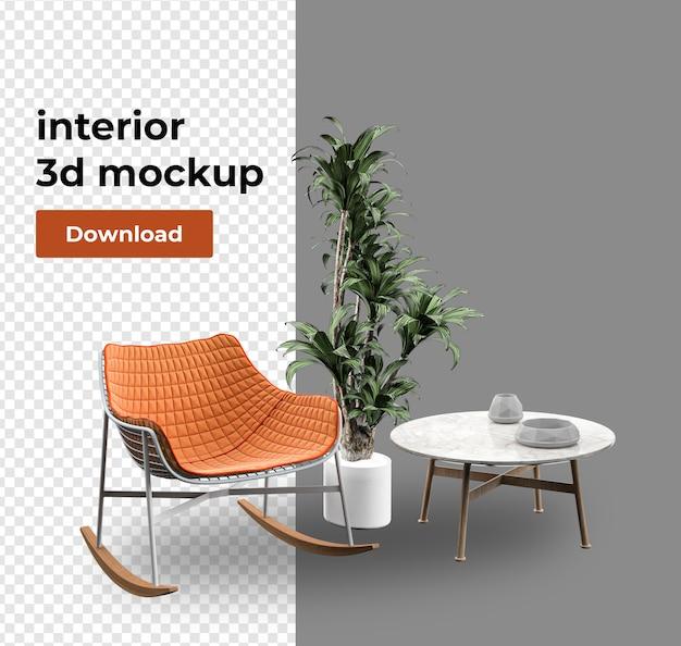 Bankdecoratie voor thuis in 3d-rendering