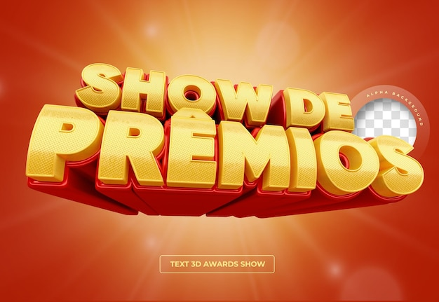 Banner 3d awards show en brasil, promoción de maqueta de diseño rojo y dorado