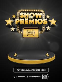 Banner 3d awards show in brazilië, promotie van zwart en goud ontwerpmodel