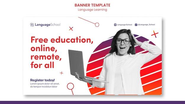 Banner de aprendizaje de idiomas en línea gratuito