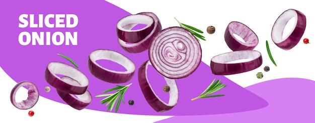 Banner de aros de cebolla roja en rodajas