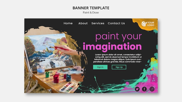 Banner para artistas de dibujo y pintura.