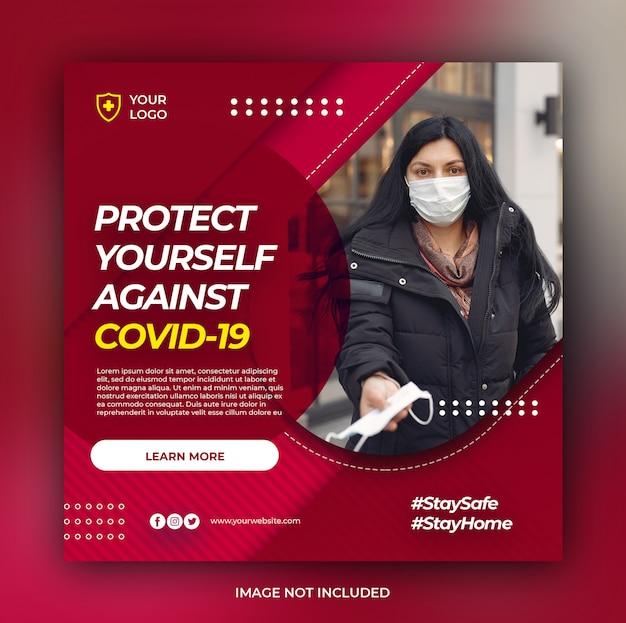 Banner de atención médica con tema de prevención de virus