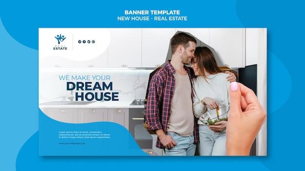 Banner de bienes raíces de casa nueva