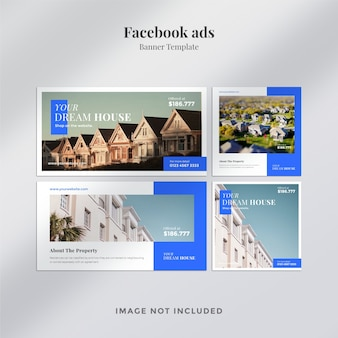 Banner de bienes raíces o anuncio de facebook con plantilla de diseño mínimo