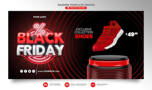 Banner black friday render realista 3d para campañas de promoción y ofertas especiales de venta