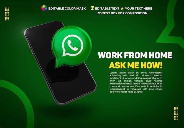 Banner con celular e icono 3d whatsapp