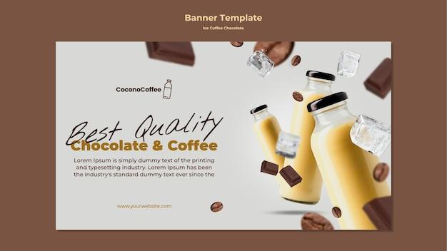 Banner de chocolate con café helado con foto
