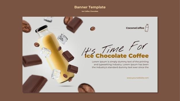 Banner de chocolate café helado