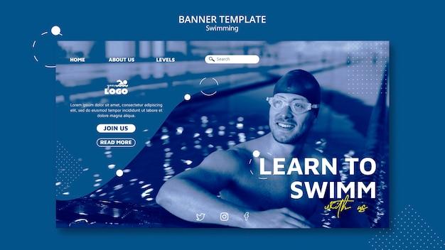 Banner de clases de natación con foto