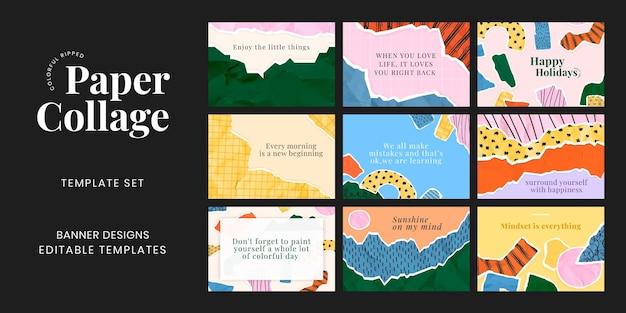 Banner de collage de papel rasgado psd en conjunto de fondo de collage de papel rasgado