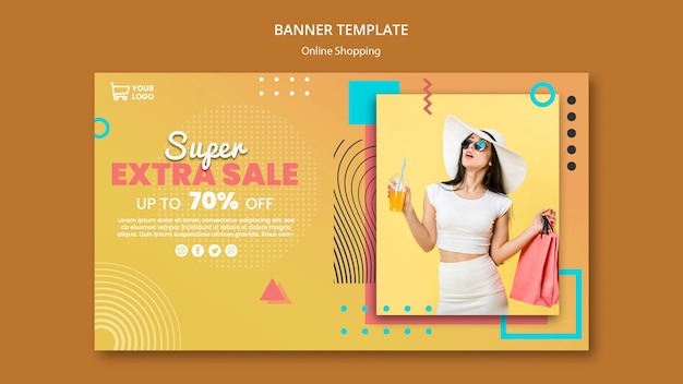 Banner con compras en línea