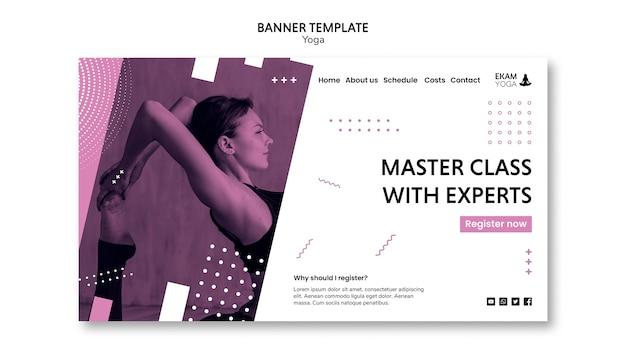 Banner con modello di yoga