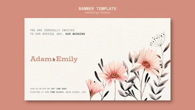 Banner concept voor bruiloft sjabloon