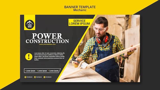 Banner de construcción de energía de trabajador de carpintero